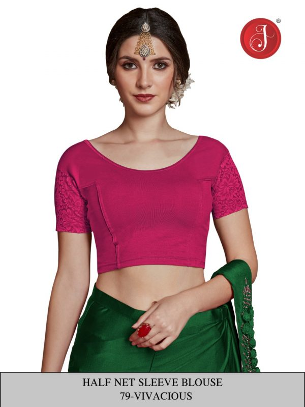 Stretchable Half Net Sleeves Blouse