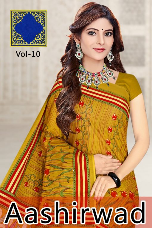 Aashirwad Vol 11 Pure Cotton Sarees - 24 Pcs Catalog