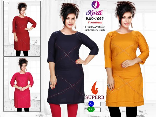 149 Rs Heavy Rayon Embroidery Kurtis Wholesale - 24 Pcs Pack